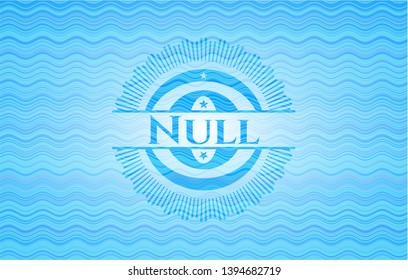 Null light blue water badge. Vector Illustration. Detailed.