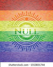 Null on mosaic background with the colors of the LGBT flag