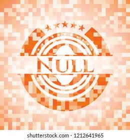 Null orange mosaic emblem with background