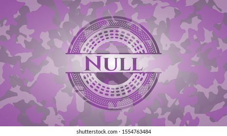 Null pink on camo texture. Vector Illustration. Detailed.