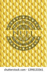 Null shiny golden emblem. Scales pattern. Vector Illustration. Detailed.