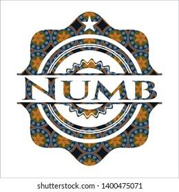 Numb arabesque style emblem. arabic decoration.