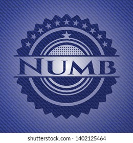 Numb emblem with jean texture. Vector Illustration. Detailed.