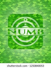 Numb realistic green emblem. Mosaic background