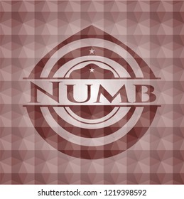 Numb red badge with geometric pattern background.