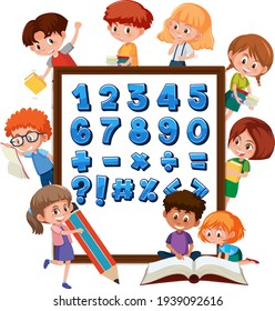 Number 0 to 9 and math symbols on banner with many kids doing different activities illustration