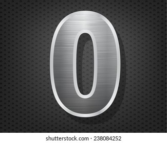 Number 0 in brushed steel isolated on black hexagon pattern background