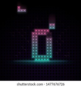 Number 0 in Pixel art, 8bit game, Synth wave style, 80s-90s, this game have number 0-9 that relate to each other