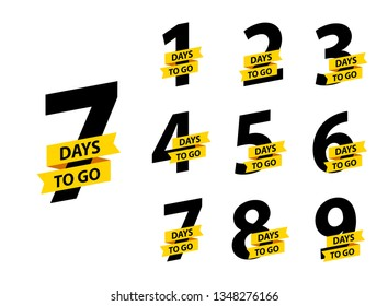 Number 1, 2, 3, 4 5 6 7 8 9 10 of days left to go Collection badges sale landing page banner