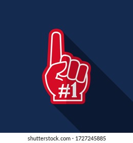 Number 1 fan. Foam hand icon vector illustration with long shadow on blue background