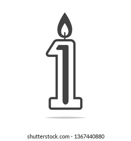 Number 1 first candle icon