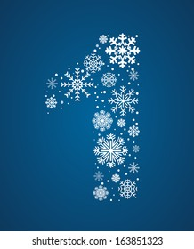 Number 1 made from frosty snowflakes, vector font