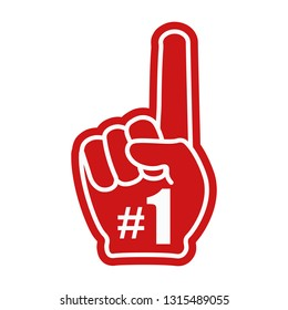 Number 1 (one) fan hand glove with finger raised. Foam Hand, Red Finger,Sport Concept Supporting Sign, Isolated on White Background, Hand Drawn Vector