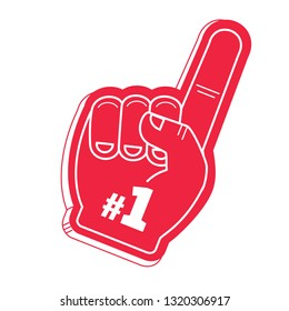 Number 1 (one) sport red fan hand glove with finger raised flat vector icon