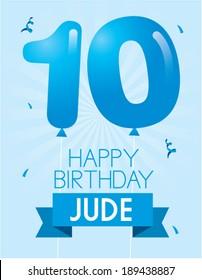 number 10 balloon birthday card template vector/illustration