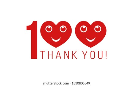 number 100 with smiling hearts and thank you, thanks for followers likes or comments
