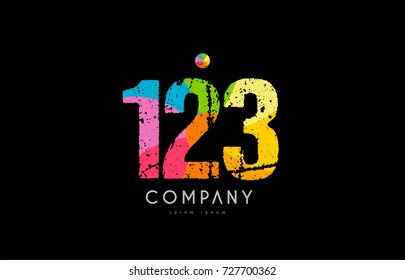 number 123 logo icon design with grunge texture and rainbow colored pattern