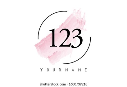 Number 123 Watercolor Stroke Logo with Circular Shape and Pastel Pink Brush Vector Design