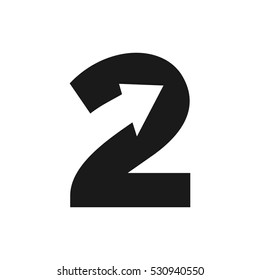number 2 and arrow icon. logo vector.