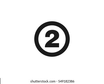 Number 2 icon vector illustration on white background
