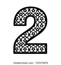 Number 2 for laser cutting. Numeral character two. Decorative paper font. Numeric date template. Vector letter for wedding invitation and birthday card.