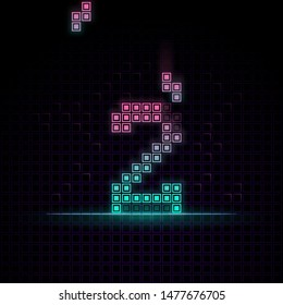 Number 2 in Pixel art, 8bit game, Synth wave style, 80s-90s ,this game have number 0-9 that relate to each other