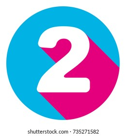 Number 2 sign design template elements. Vector. Flat white icon with mexican pink shadow inside sky blue(S and G) circle at white background. Isolated. Trend colors in 2017.