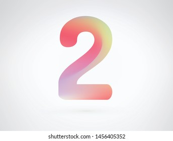 Number 2 vector design font alphabet with Modern dynamic playful flat design and brilliant smooth gradient color. Unique elements for your best design ; logo, font, corporate identity, application
