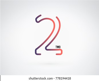 Number 2 vector font alphabet, modern dynamic flat design with brilliant colorful gradient smooth color for your unique elements design ; logo, corporate identity,  application, creative poster & more