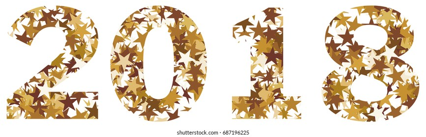 The number 2018 made of golden stars