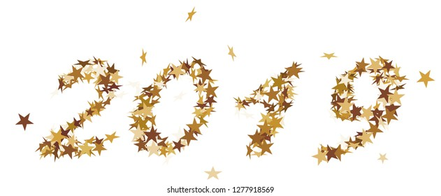 The number 2019 made of golden Stars