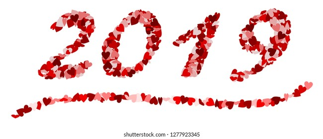 The number 2019 made of red hearts