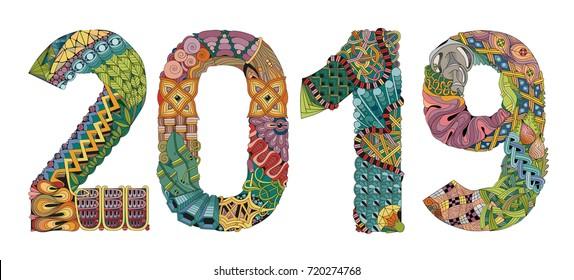 Number 2019 Zentangle. Vector decorative object