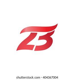 number 23 swoosh design template logo red