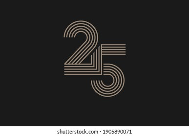 Number 25 Logo, Monogram Number 25 logo multi line style, usable for anniversary and business logos, flat design logo template, vector illustration