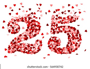 the number 25 made of red hearts