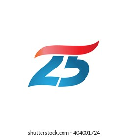 number 25 swoosh design template logo blue red