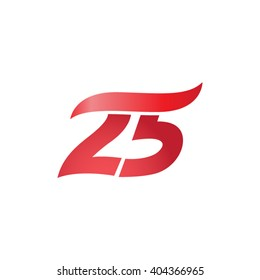 number 25 swoosh design template logo red