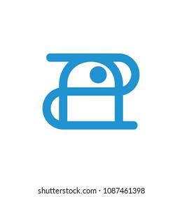 number 2a robot droid shape linear design logo vector