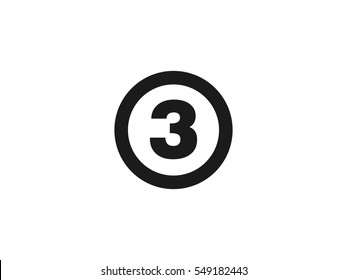 Number 3 icon vector illustration on white background