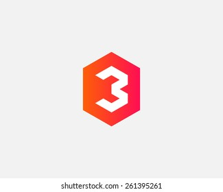 Number 3 logo icon vector design