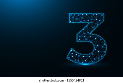 Number 3 low poly design, mathematics abstract geometric image, three wireframe mesh polygonal vector illustration made from points and lines on dark blue background