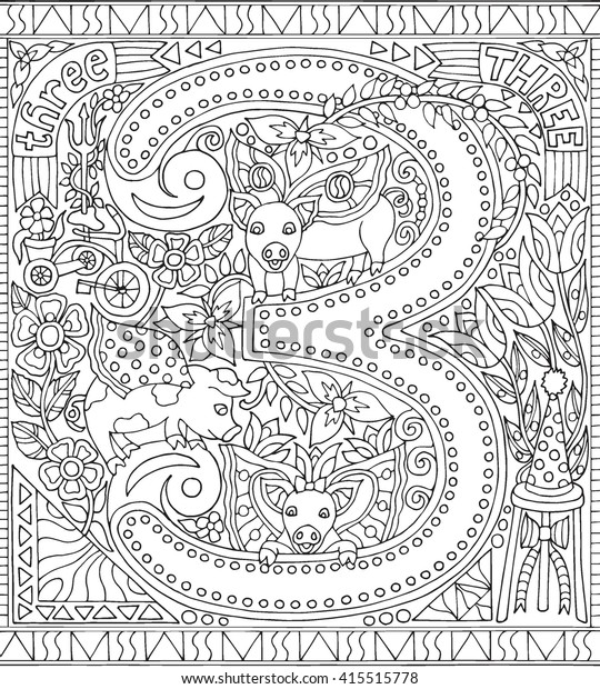 Number 3 Three Adult Coloring Book Stock Vector (Royalty ...