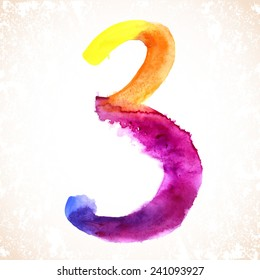 Number 3 written with a brush. Hand drawn letters. Watercolor.