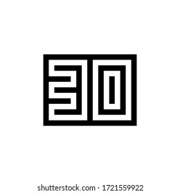 Number 30 icon design with black and white background. Vector illustration.