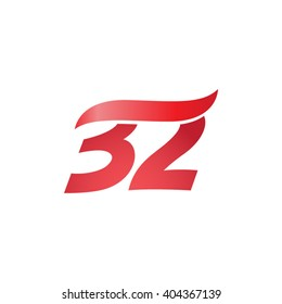 number 32 swoosh design template logo red