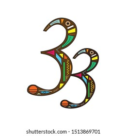 the number 33 with ethnic ornaments art and colors