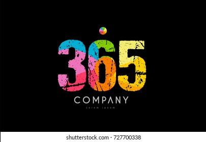 number 365 logo icon design with grunge texture and rainbow colored pattern