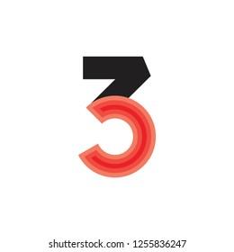 number 3c abstract gradient logo vector