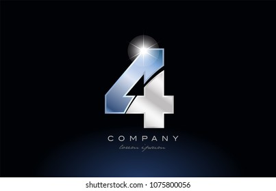 number 4 logo design with metal blue color suitable for a company or business